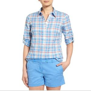 Vineyard Vines Burgee Plaid Tab Sleeve Popover Top